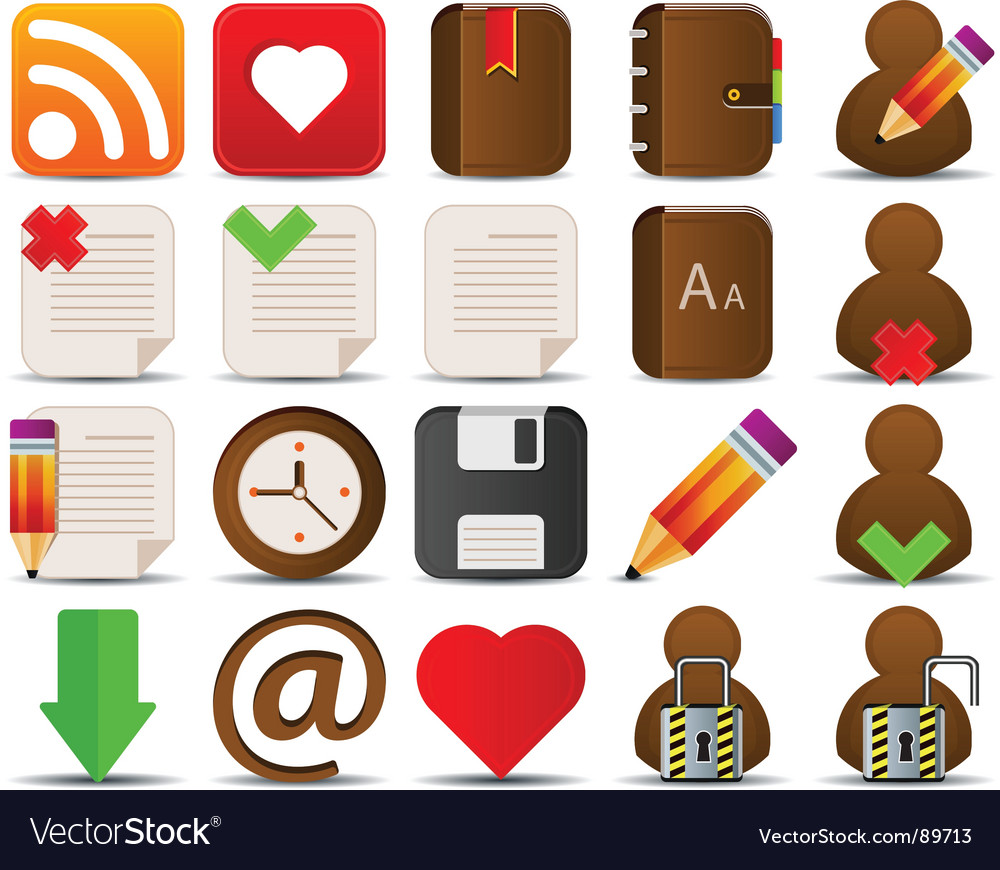 Internet and blogger icons vector | Price: 1 Credit (USD $1)