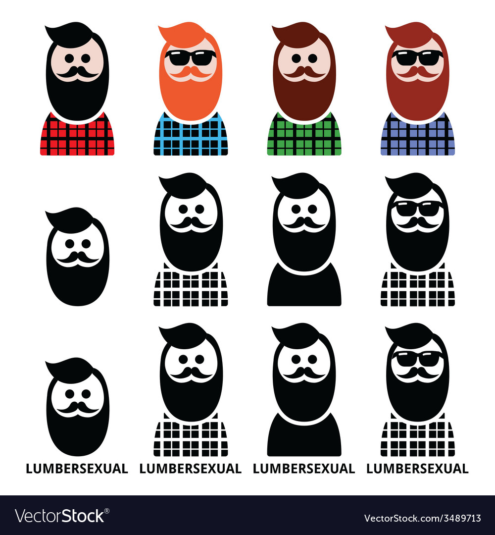 Lumbersexual man lumberjack - fashion trend icons vector | Price: 1 Credit (USD $1)