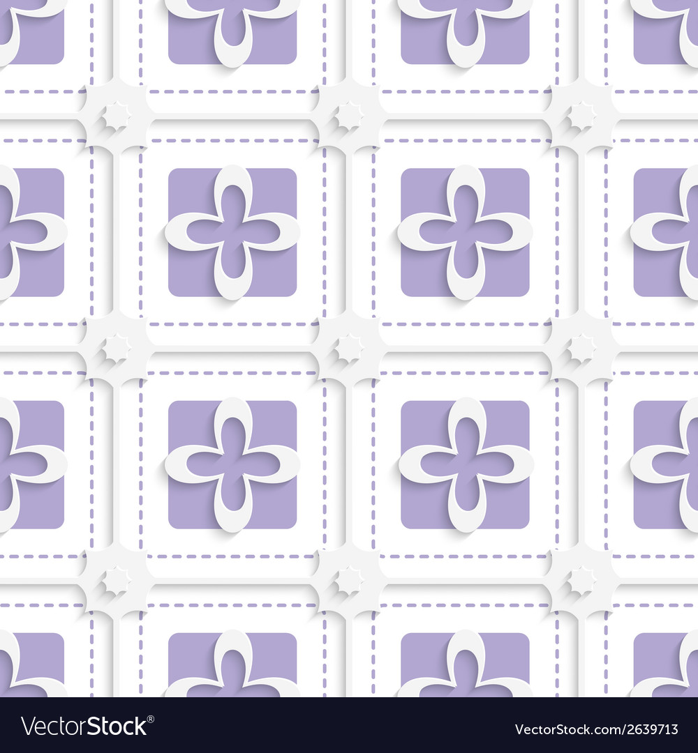 Purple squares and white flowers pattern vector   Price: 1 Credit (USD $1)