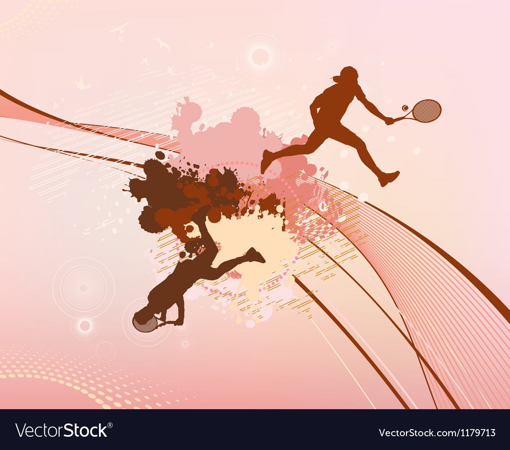 Red stains and blots tennis player vector | Price: 1 Credit (USD $1)