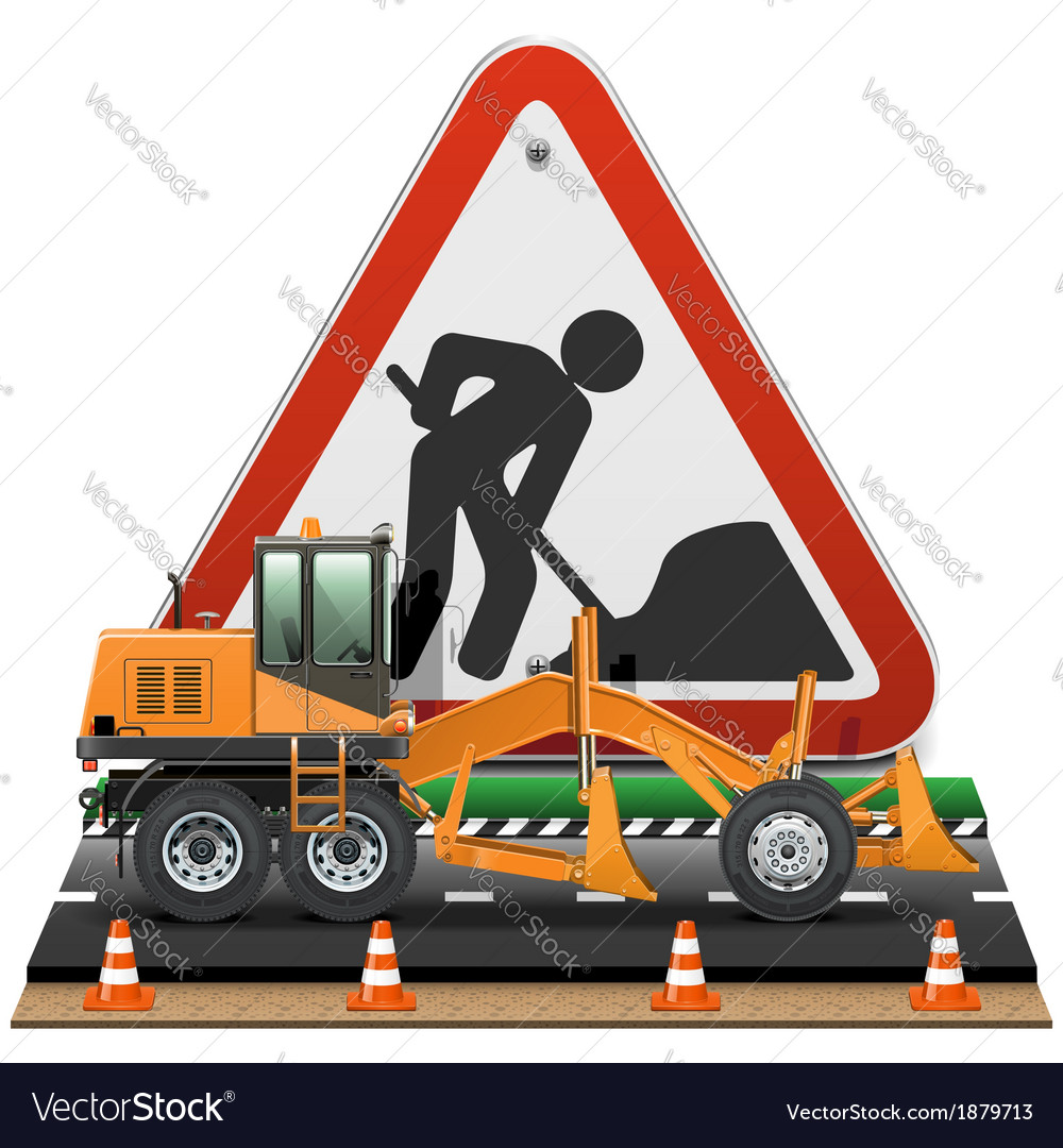 Road construction concept with sign vector | Price: 3 Credit (USD $3)