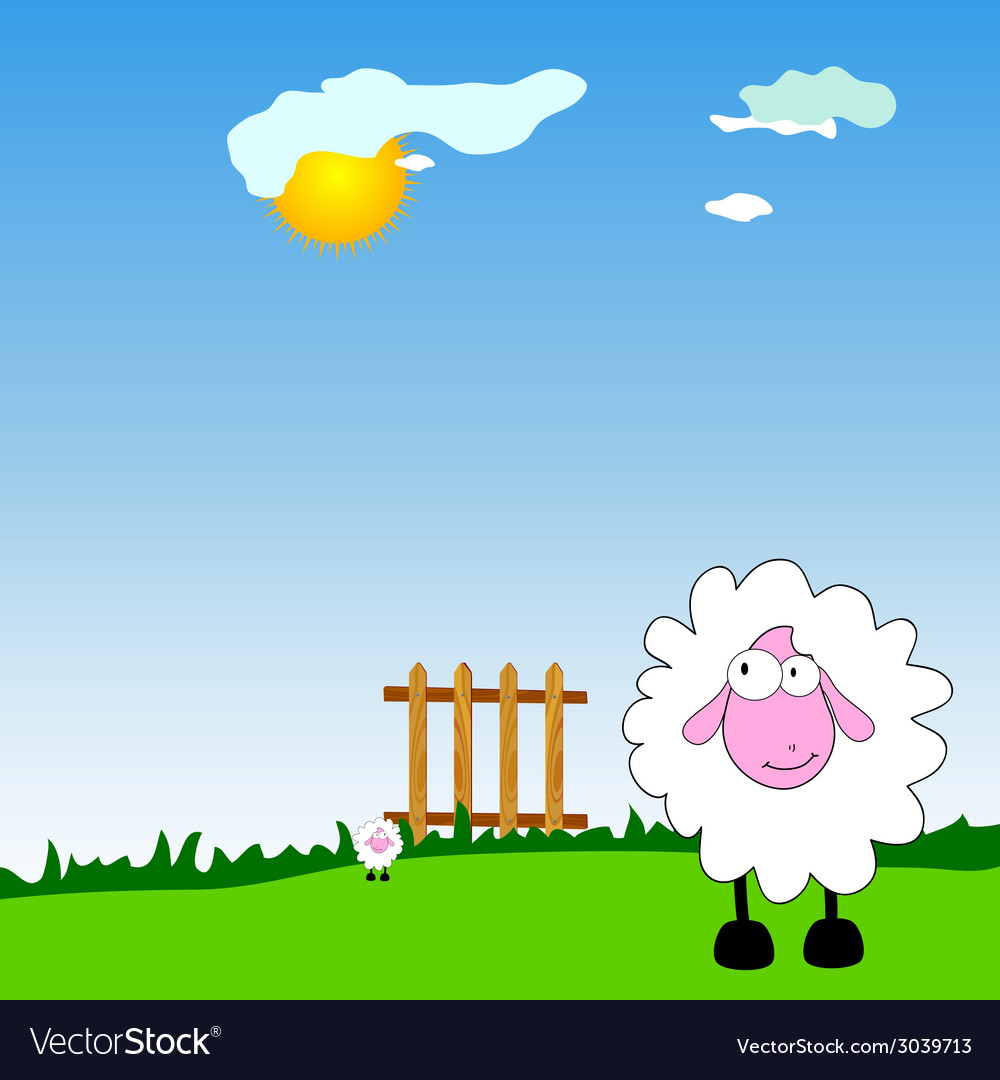 Sheeps on the farm cartoon vector | Price: 1 Credit (USD $1)