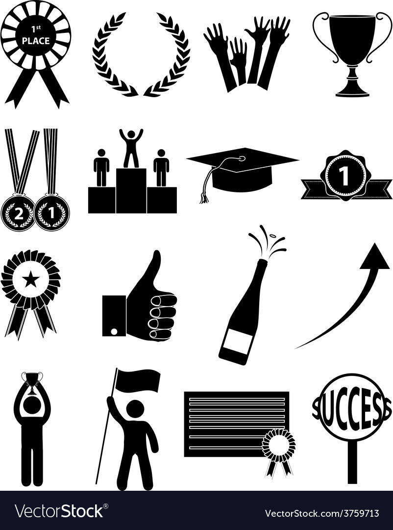 Success icons set vector | Price: 1 Credit (USD $1)