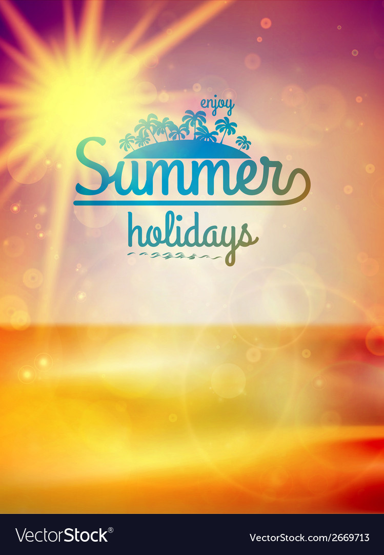 Summer holidays typography background vector | Price: 1 Credit (USD $1)