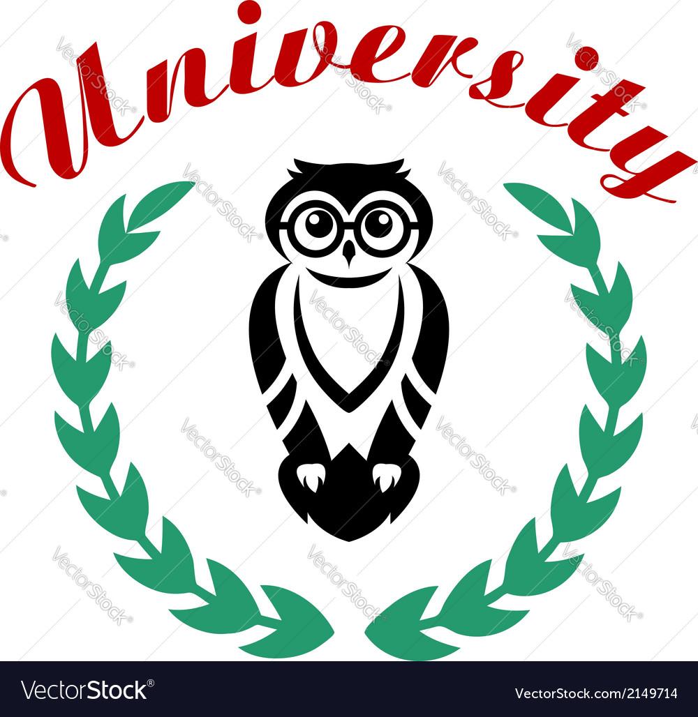 Black owl in wreath as university symbol vector | Price: 1 Credit (USD $1)