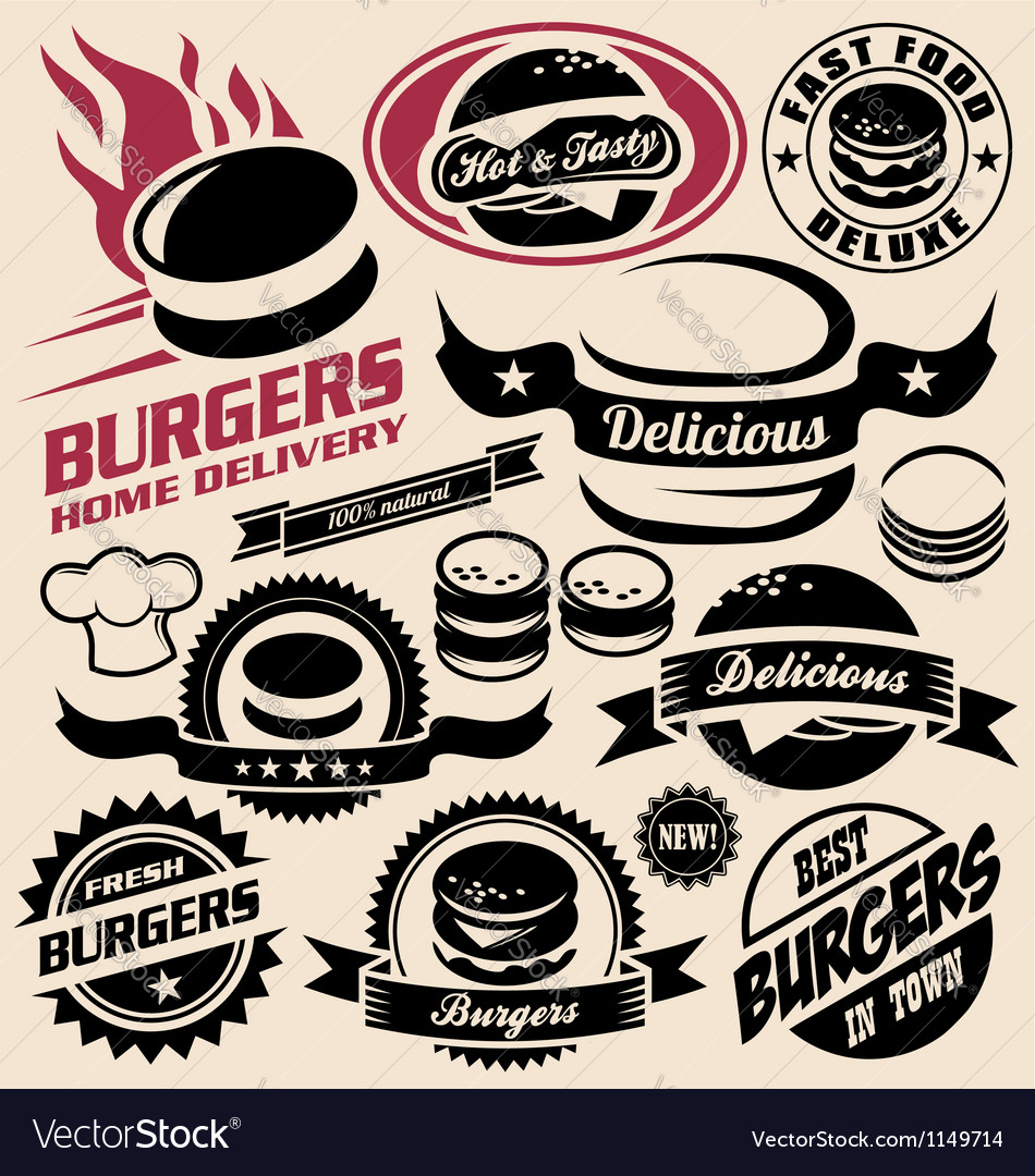Burger icons labels signs symbols and designs vector | Price: 1 Credit (USD $1)
