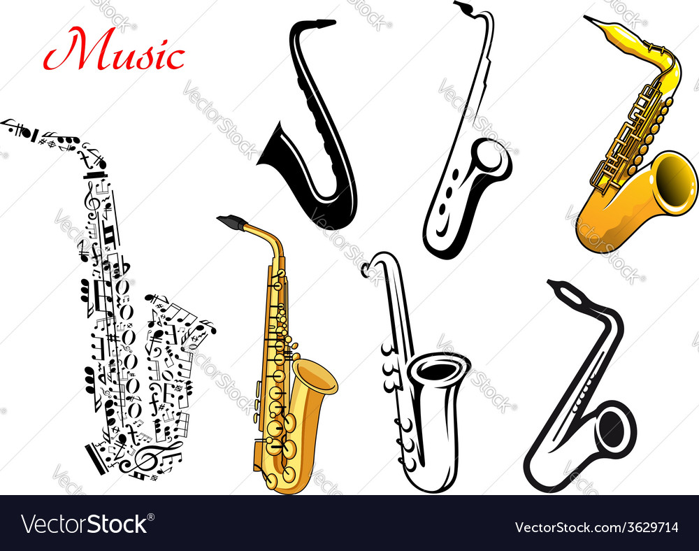 Cartoon saxophone music instruments vector | Price: 1 Credit (USD $1)