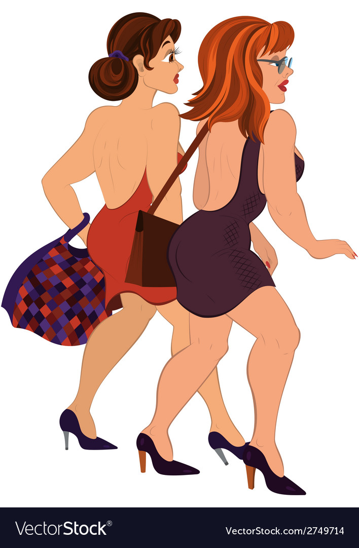 Cartoon two girls walking with bags back view vector | Price: 1 Credit (USD $1)