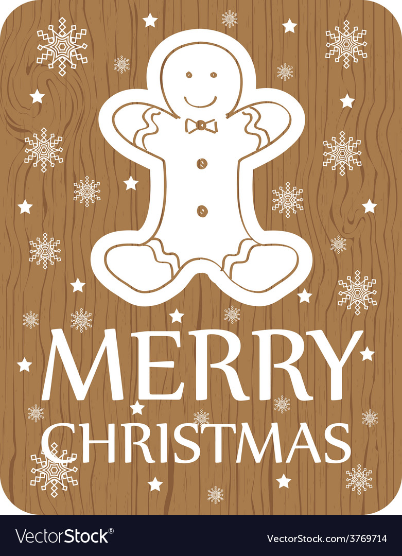 Chistmas greeting with cookie on wood background vector | Price: 1 Credit (USD $1)