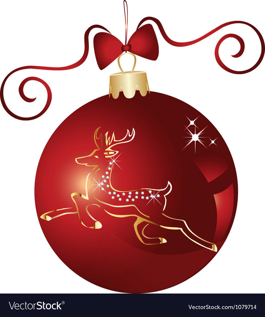 Christmas ball and gold reindeer vector