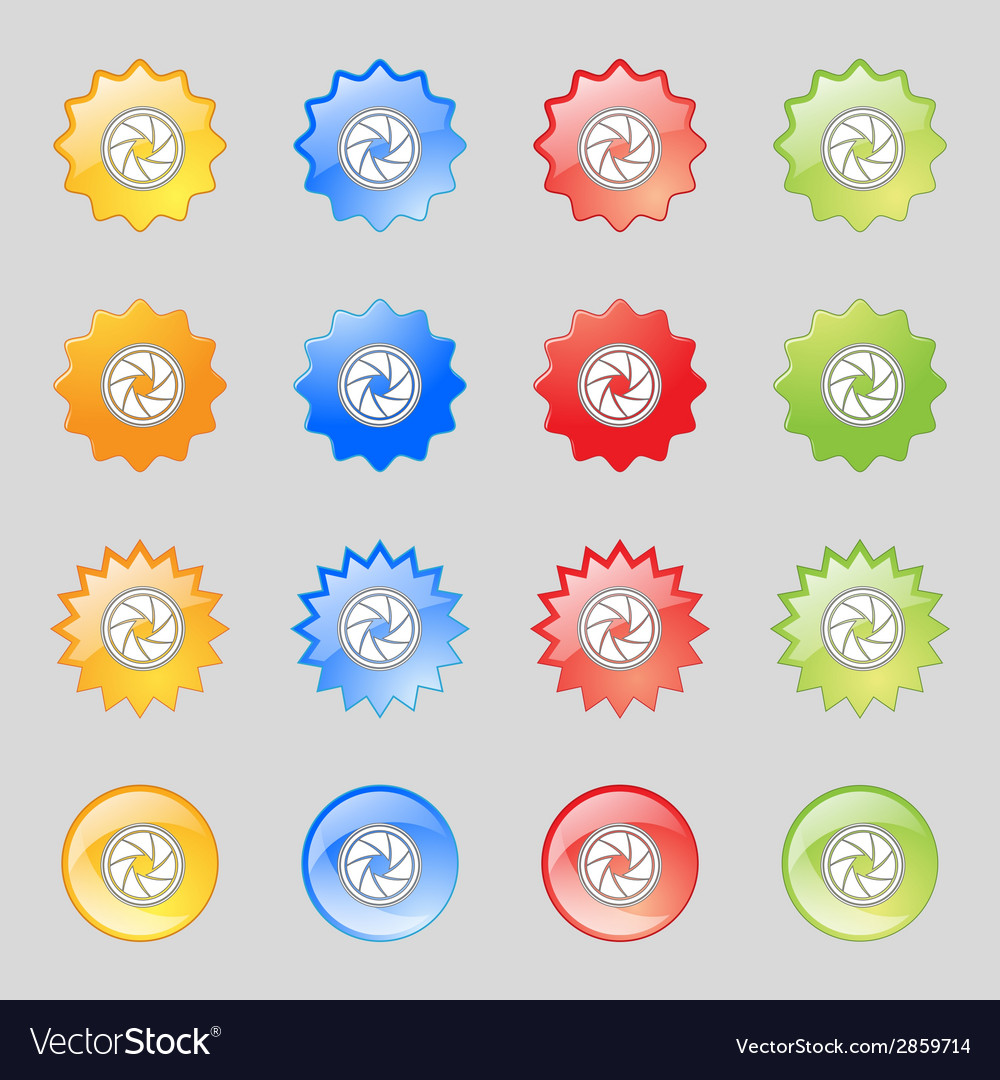 Diaphragm icon aperture sign set colourful buttons vector | Price: 1 Credit (USD $1)