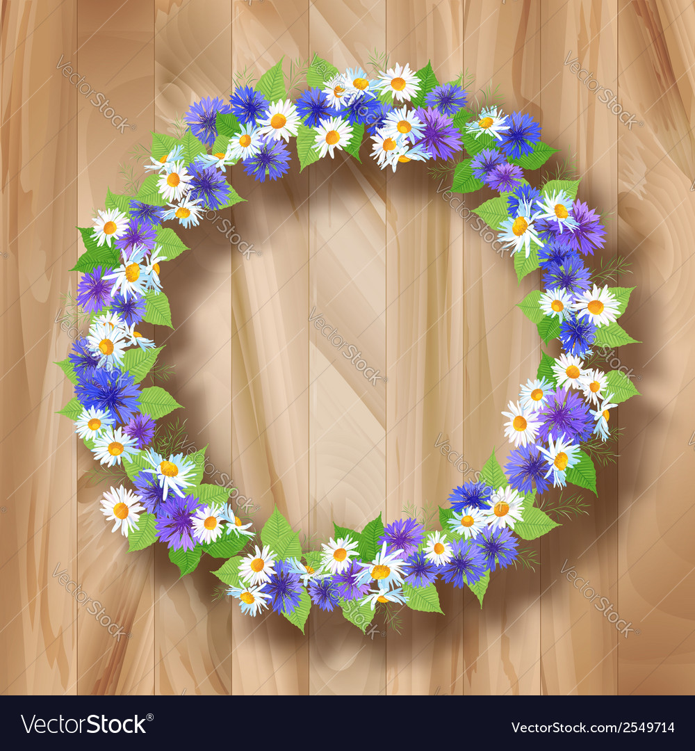 Flowers wreath greeting card on wooden background vector | Price: 1 Credit (USD $1)