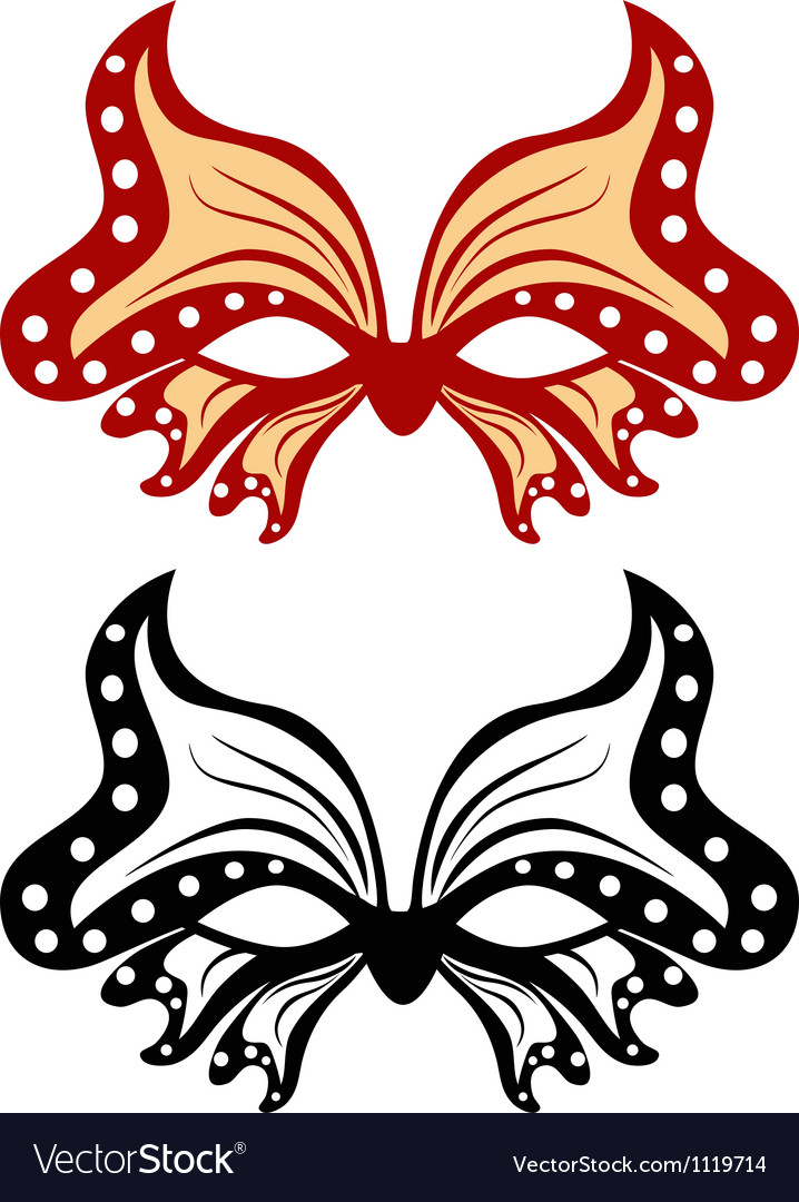 Image masquerade mask in the shape of a butterfly vector | Price: 1 Credit (USD $1)