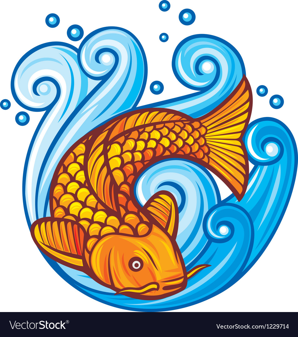 Koi fish in the sea waves vector | Price: 1 Credit (USD $1)