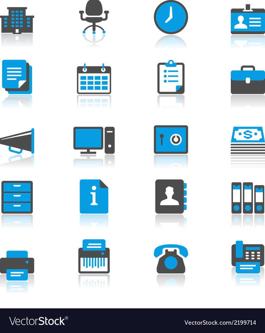 Office supplies flat with reflection icons vector | Price: 1 Credit (USD $1)