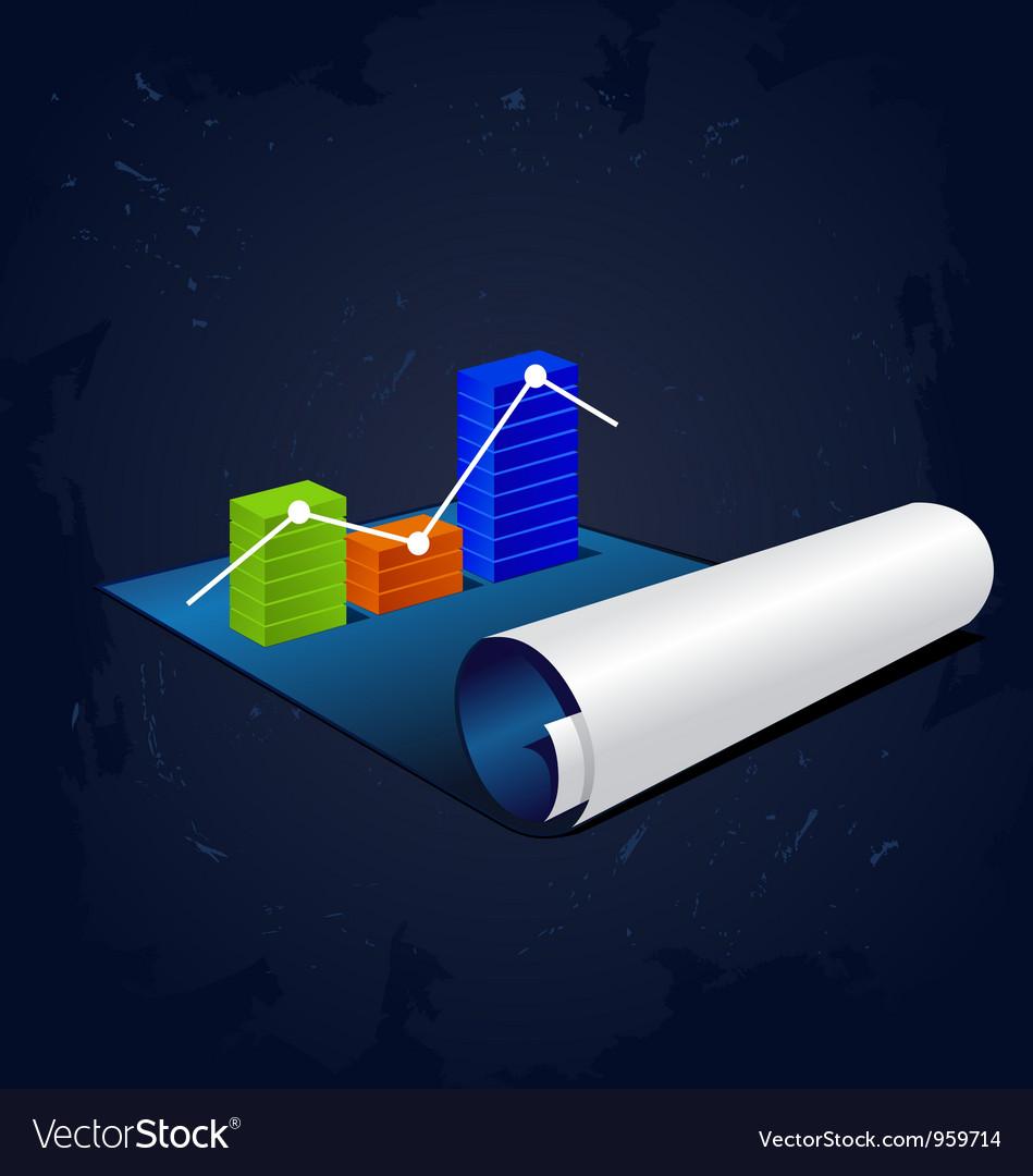 Roll of blue paper with graph or diagram vector | Price: 1 Credit (USD $1)