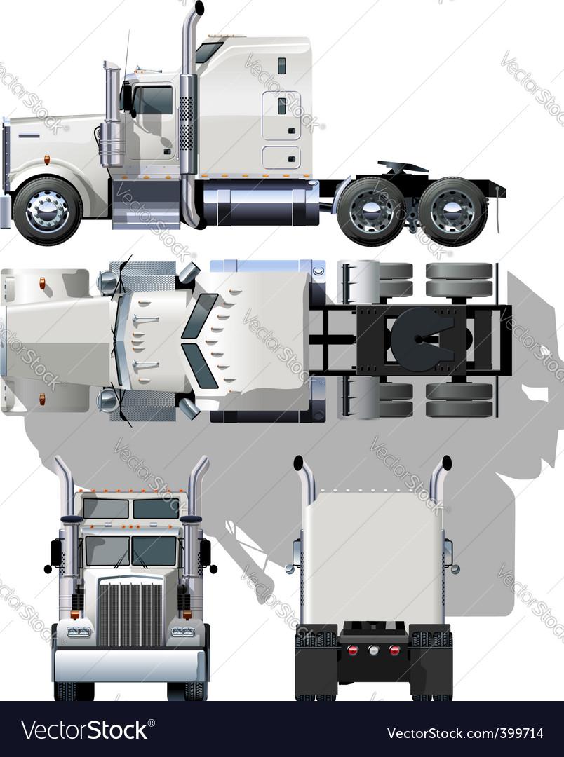 Semi truck illustration vector | Price: 3 Credit (USD $3)