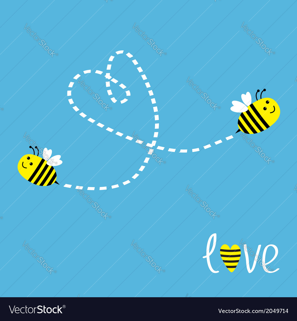 Two flying bees dash heart in the sky card vector | Price: 1 Credit (USD $1)