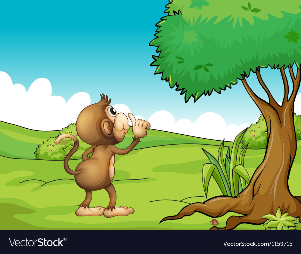 A monkey looking at the tree vector | Price: 1 Credit (USD $1)