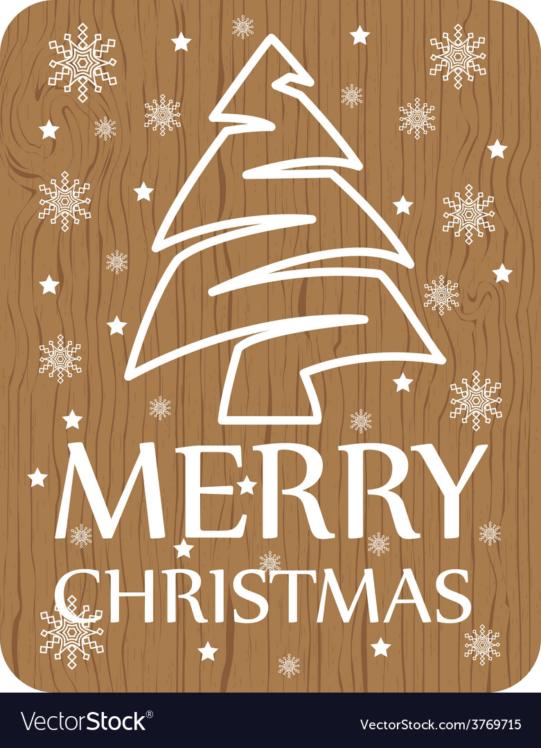 Christmas card on wood background vector | Price: 1 Credit (USD $1)
