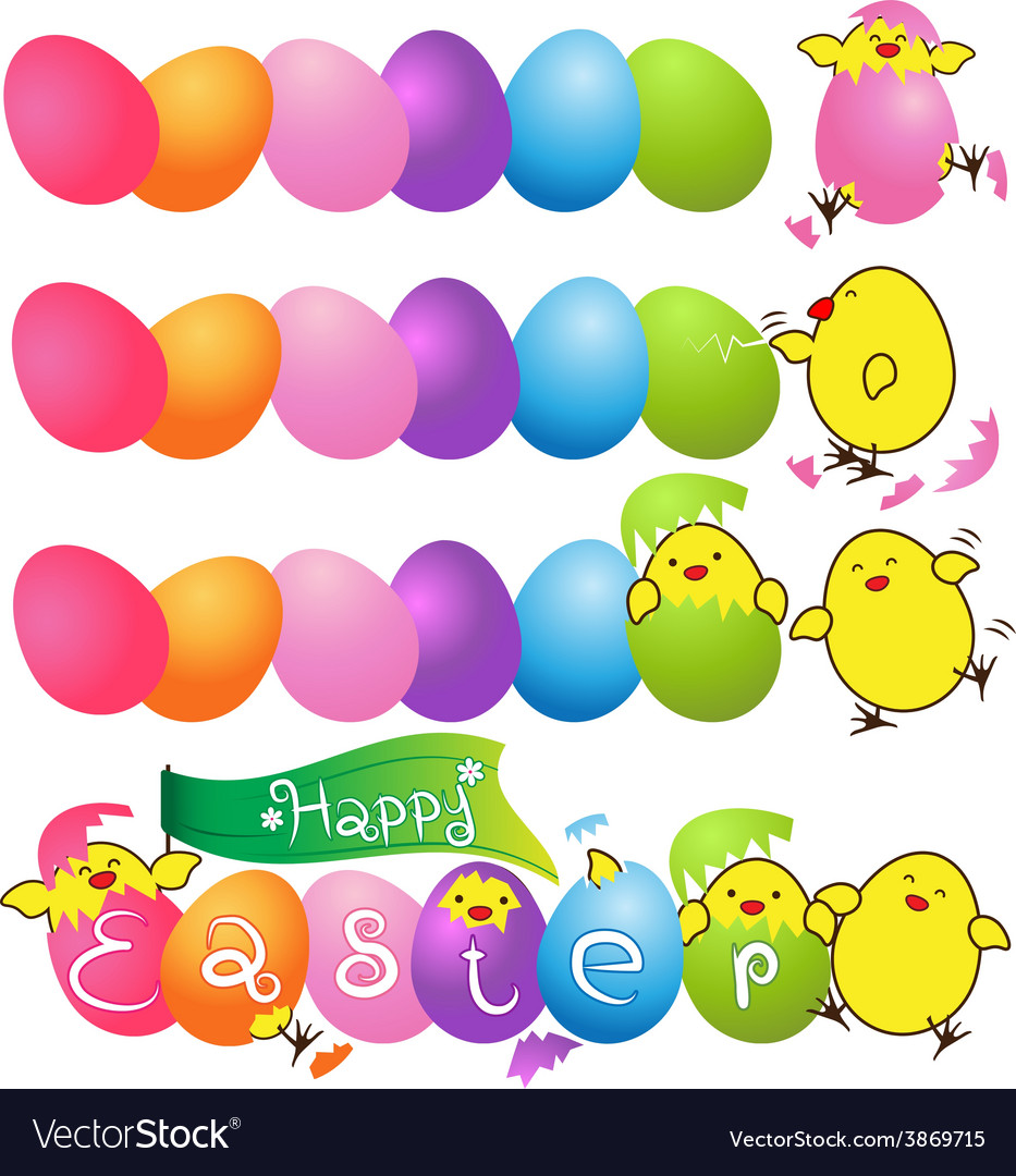 Colorful eggs with funny baby chicken for easter vector | Price: 1 Credit (USD $1)