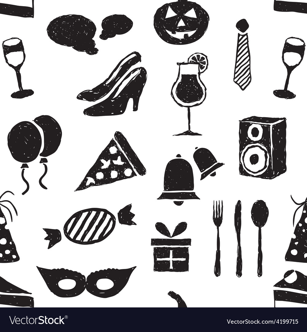 Doodle party seamless pattern vector | Price: 1 Credit (USD $1)