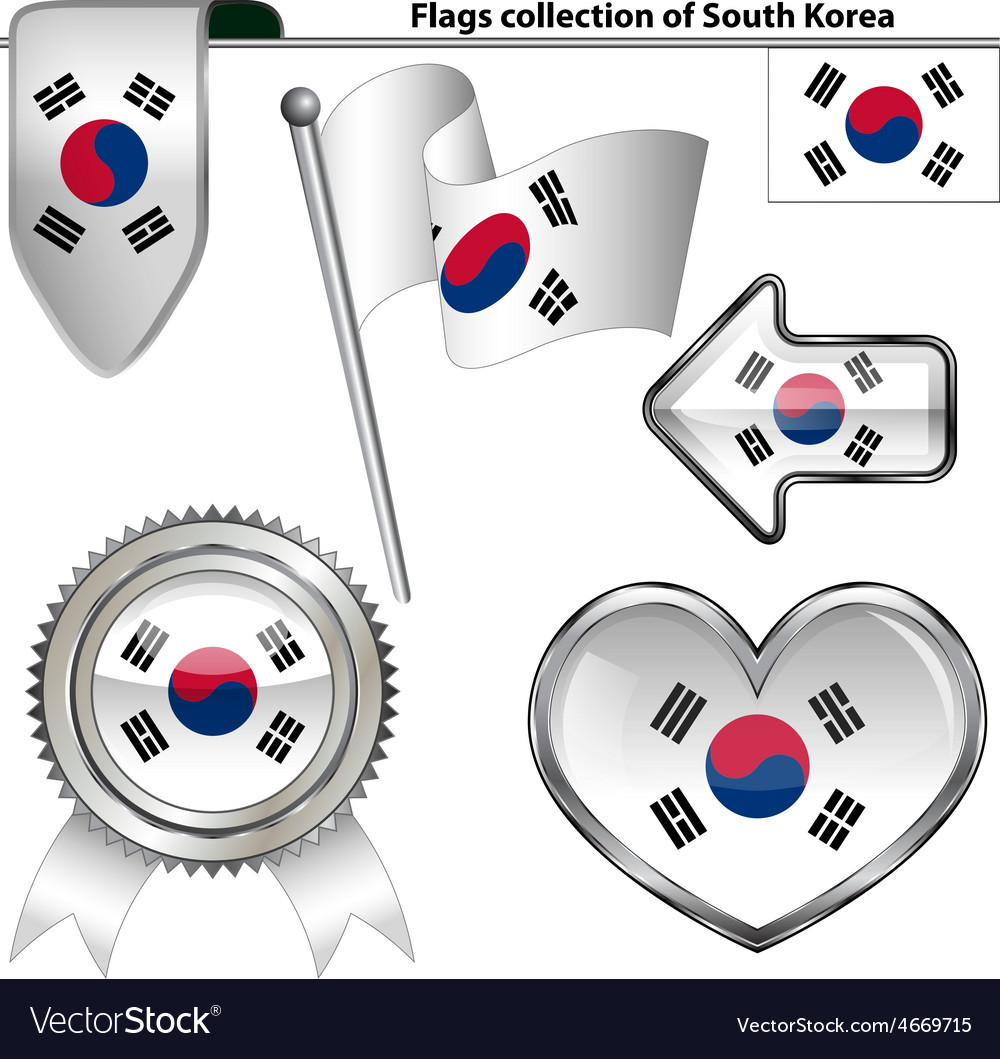 Glossy icons with south korea flag vector | Price: 1 Credit (USD $1)
