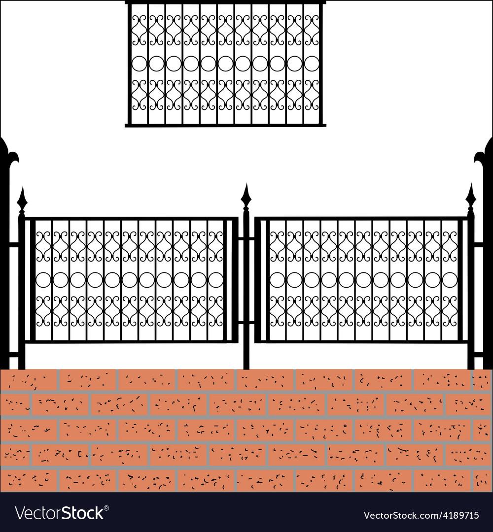 Iron fence with bricks vector   Price: 1 Credit (USD $1)