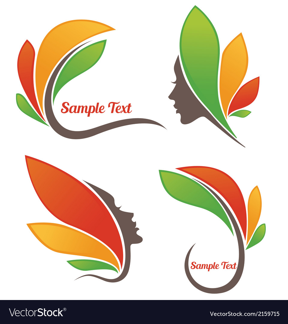 Leaves and faces vector | Price: 1 Credit (USD $1)