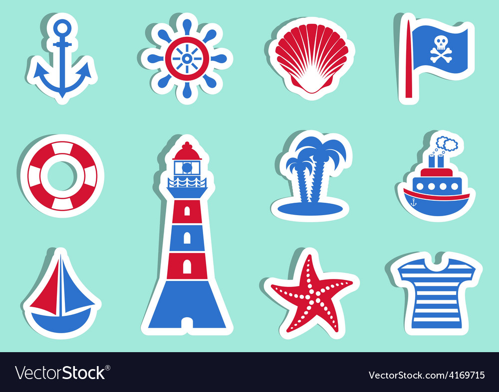 Marine and pirate icons vector | Price: 1 Credit (USD $1)