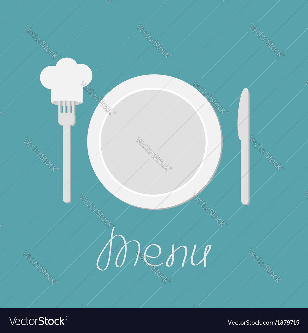Plate knife and chefs hat on the fork menu card vector | Price: 1 Credit (USD $1)