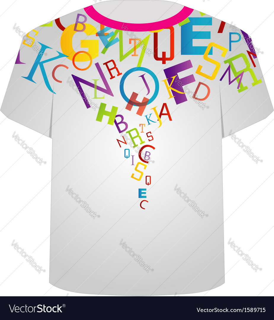 T shirt template- colorful letters vector | Price: 1 Credit (USD $1)