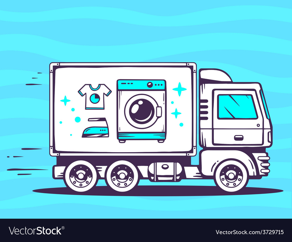 Truck free and fast delivering washing ma vector | Price: 1 Credit (USD $1)