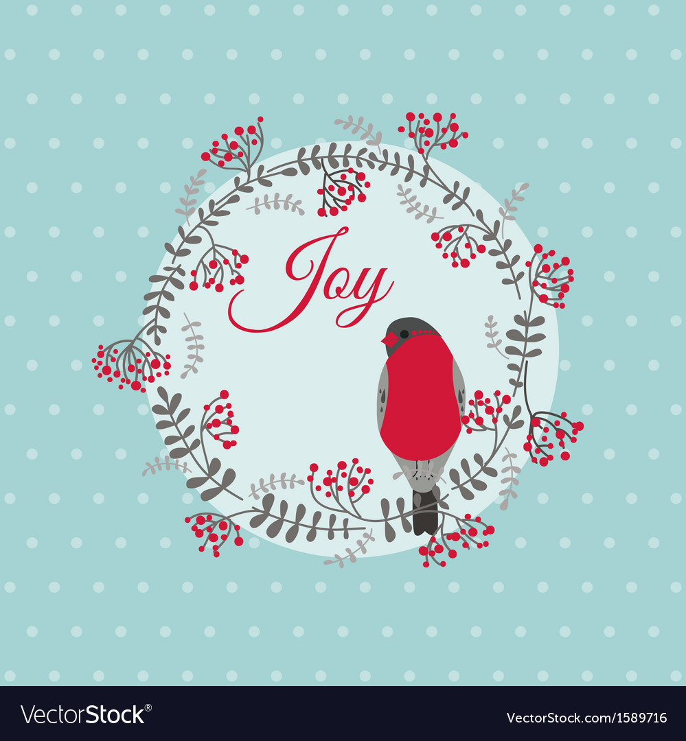 Christmas card with bird and wreath vector | Price: 1 Credit (USD $1)