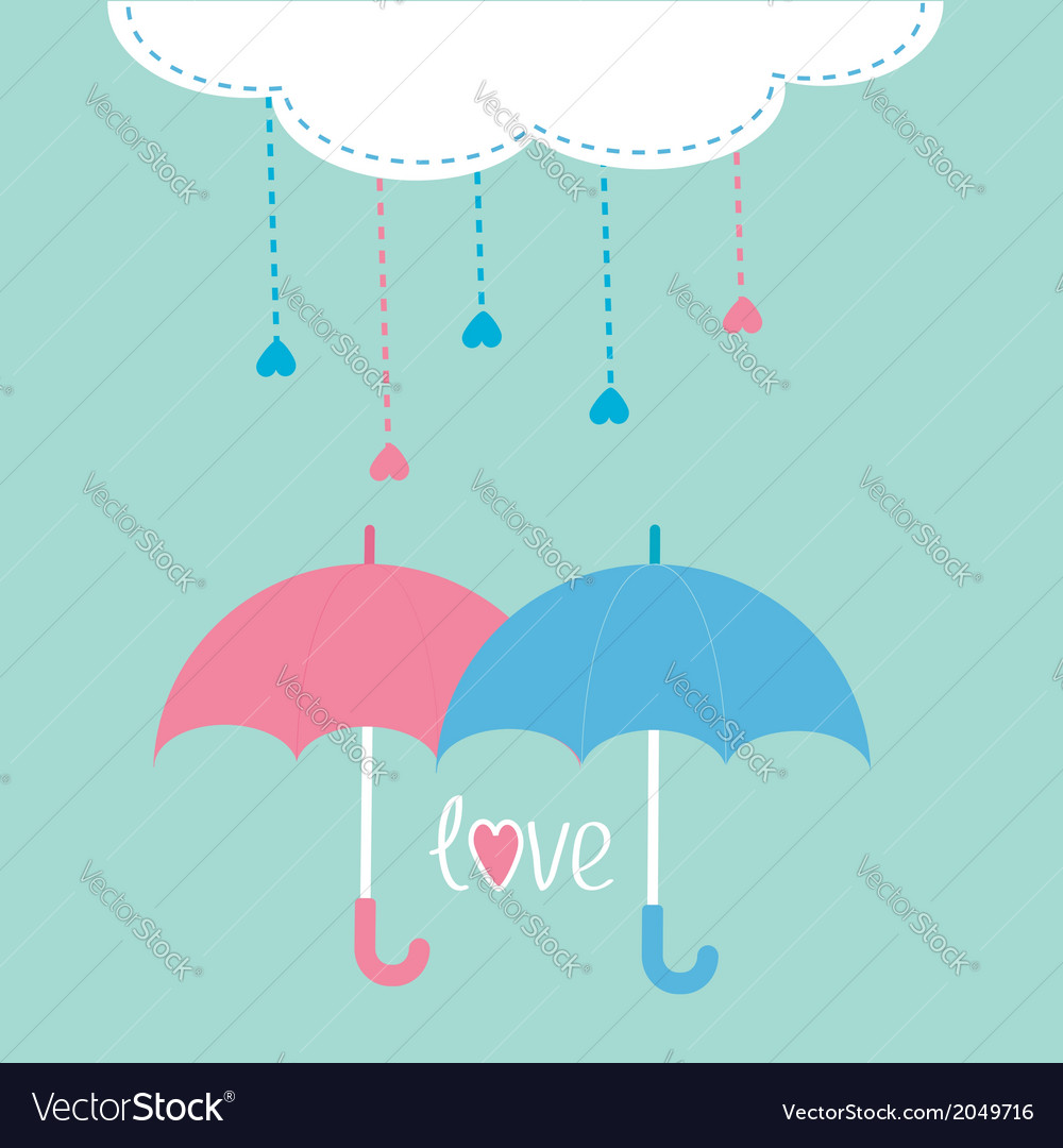Cloud with hanging rain drops and two umbrellas vector | Price: 1 Credit (USD $1)