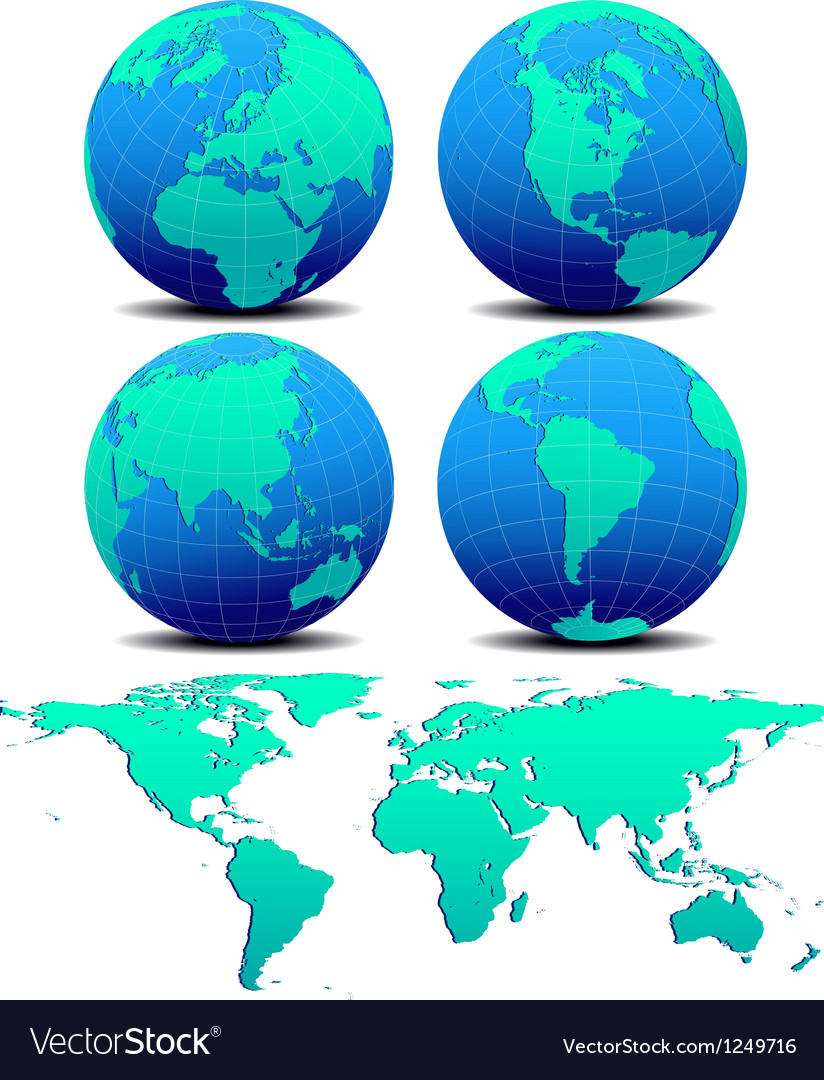 Four global worlds and world map - set two vector | Price: 1 Credit (USD $1)