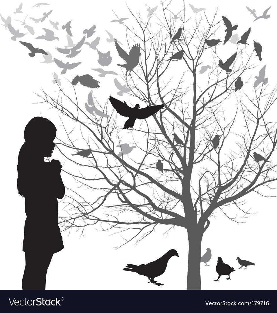 Girl and birds vector | Price: 1 Credit (USD $1)