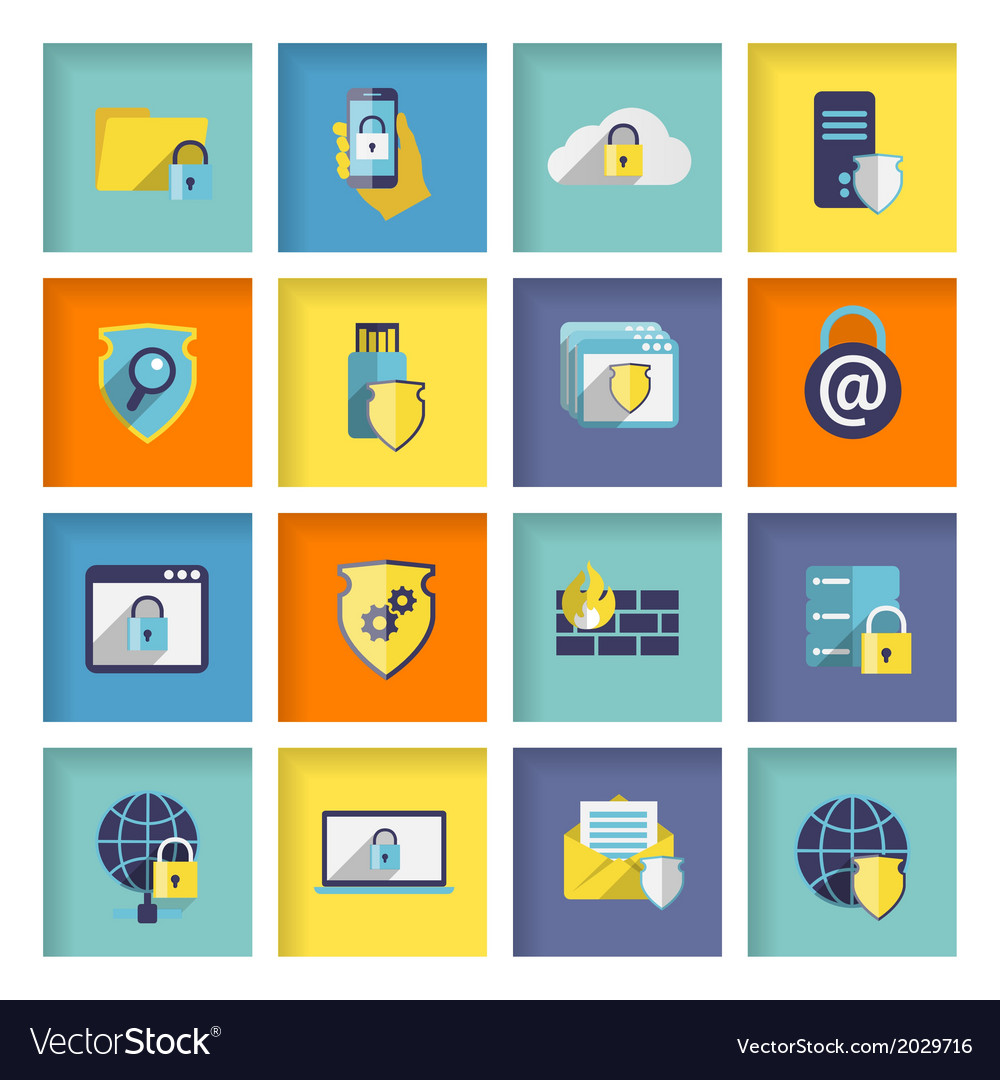 Information technology security icons set vector | Price: 1 Credit (USD $1)