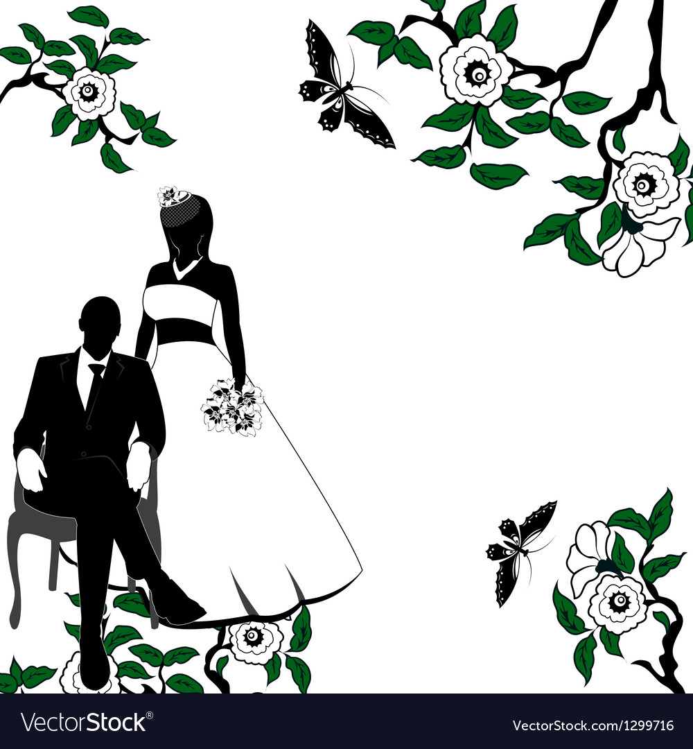 Invitation with wedding pair vector | Price: 1 Credit (USD $1)