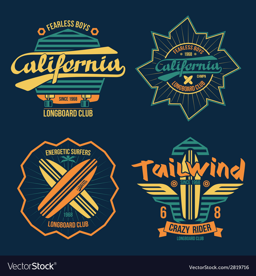 Longboard surfing retro emblem color vector | Price: 1 Credit (USD $1)