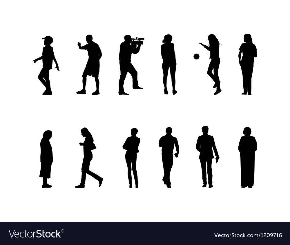 Many black silhouettes vector | Price: 1 Credit (USD $1)