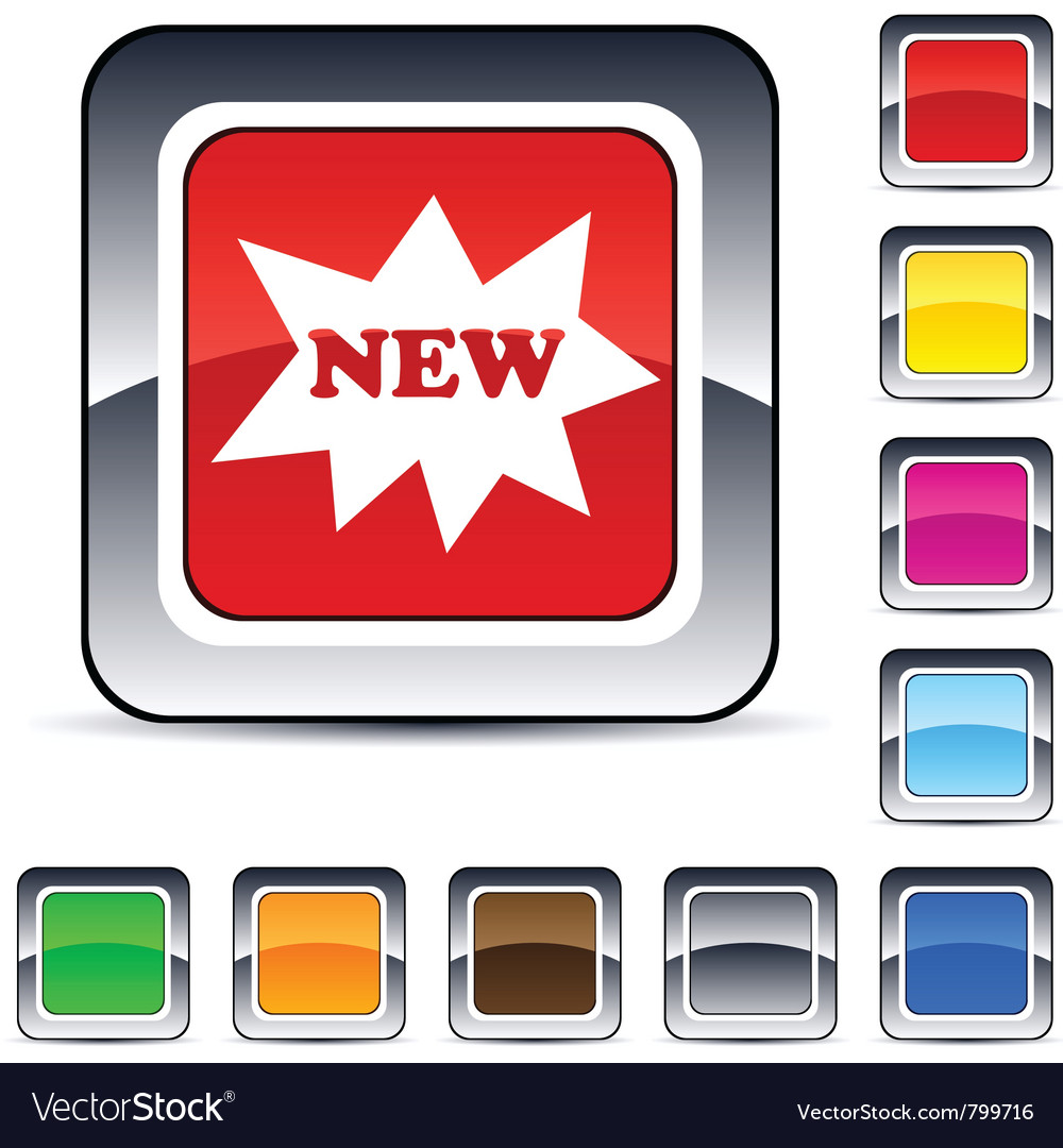 New square button vector | Price: 1 Credit (USD $1)