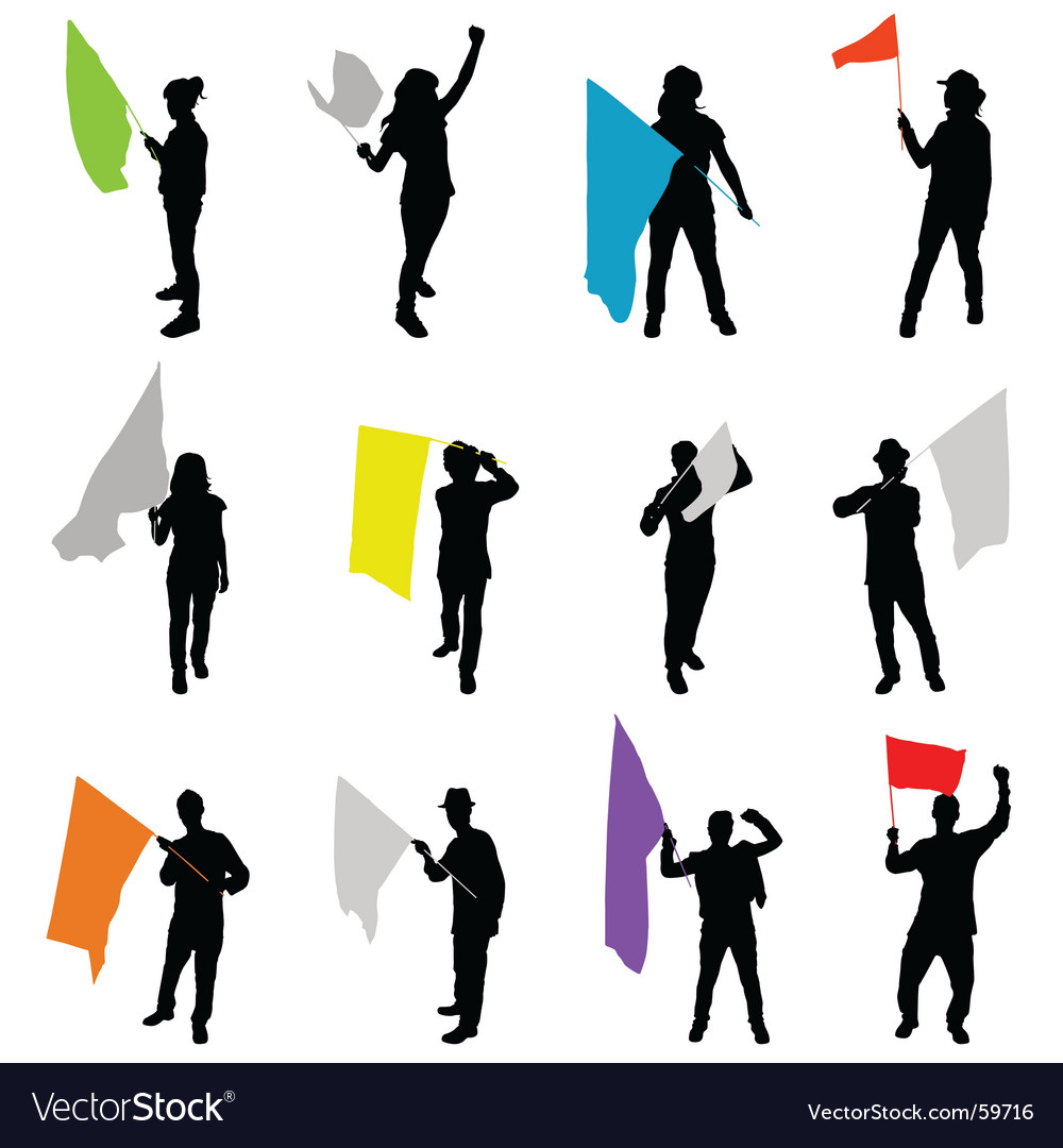 People with flags vector | Price: 1 Credit (USD $1)