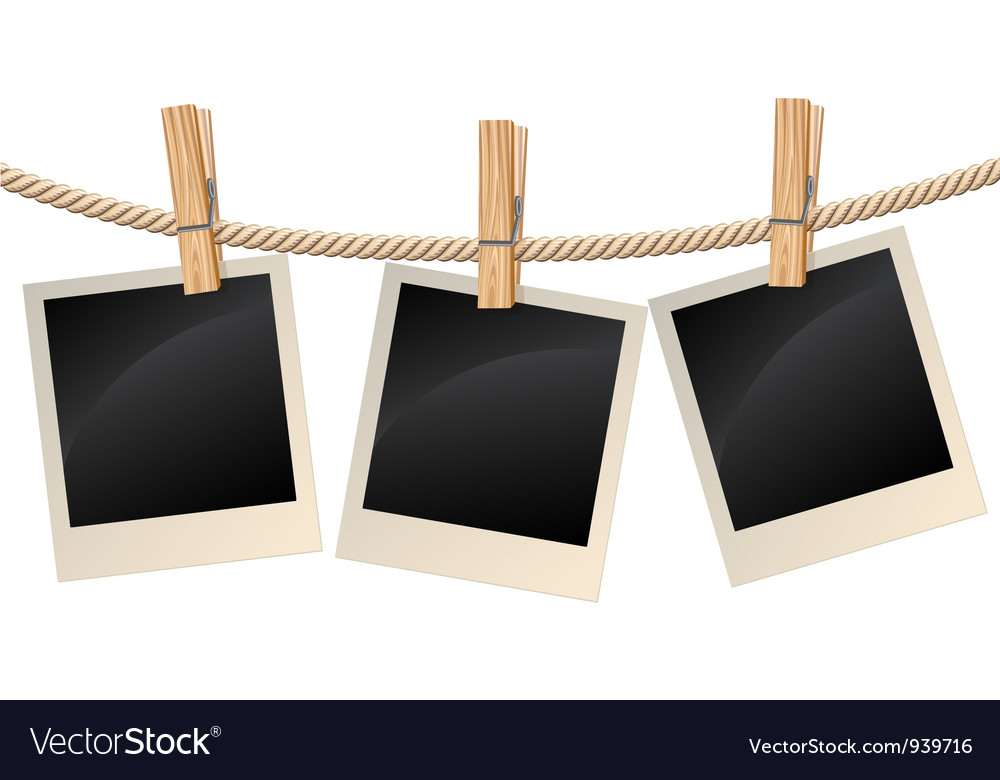 Photos hanging on a clothesline vector | Price: 1 Credit (USD $1)