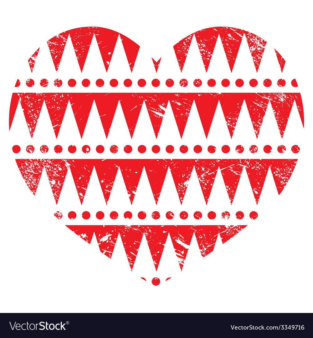 Valentines day card - aztec tribal red heart vector | Price: 1 Credit (USD $1)
