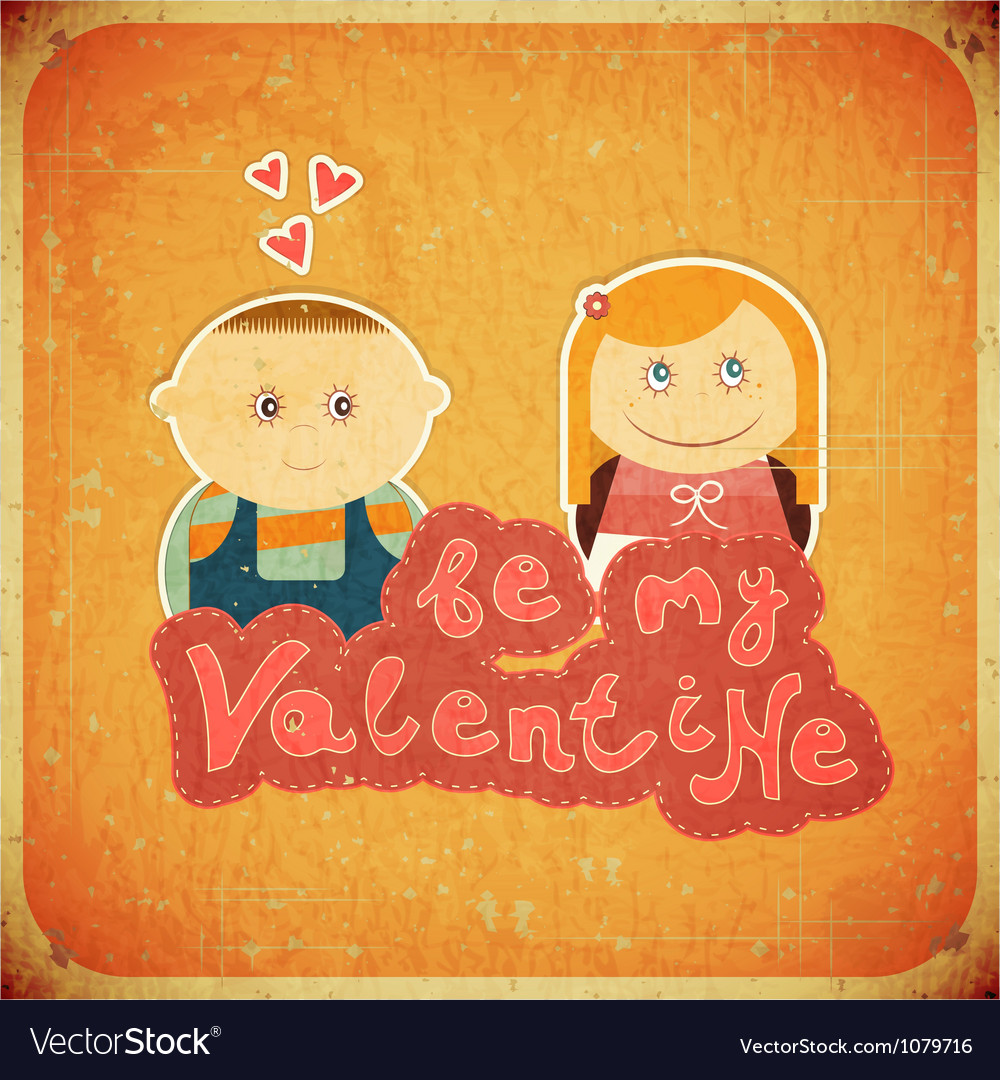 Vintage design valentines day card vector