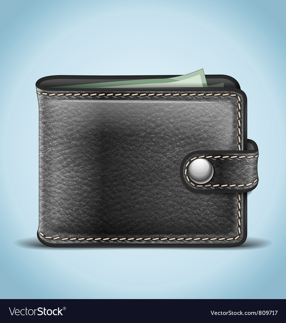 Black leather wallet vector | Price: 1 Credit (USD $1)