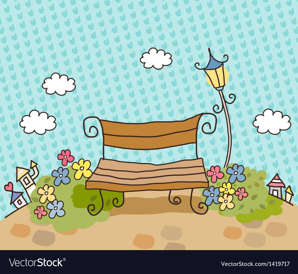 Cartoon park bench vector | Price: 1 Credit (USD $1)