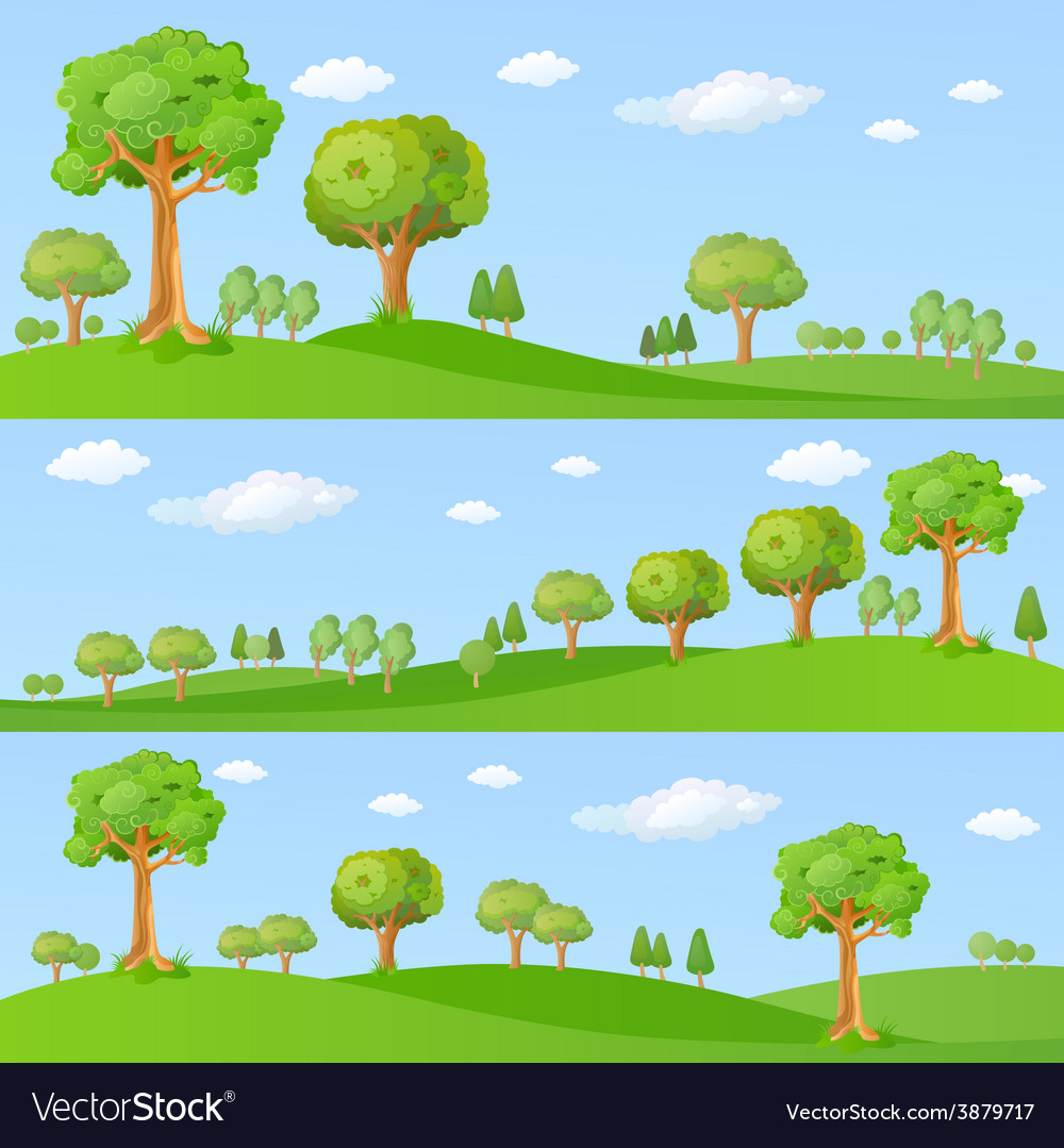 Childish background with little trees vector | Price: 1 Credit (USD $1)