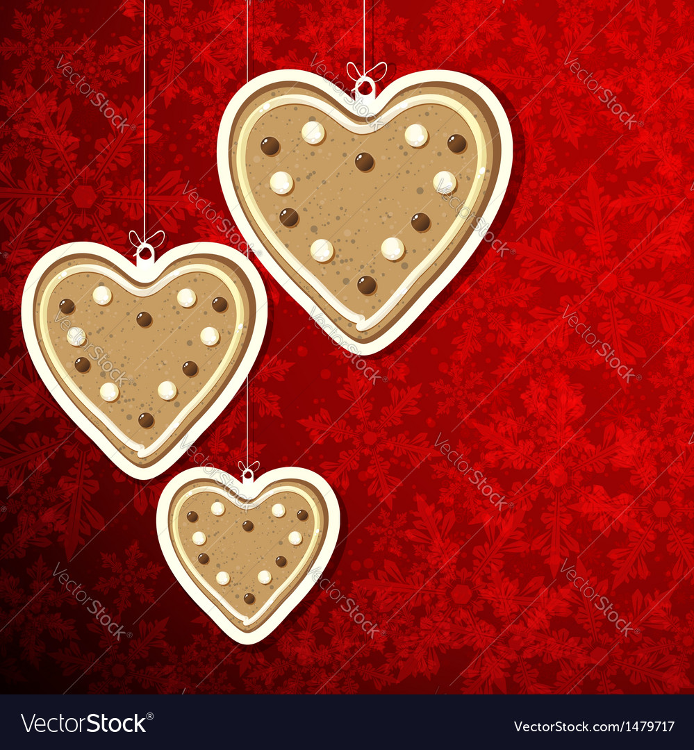 Christmas background with gingerbread hearts vector | Price: 1 Credit (USD $1)